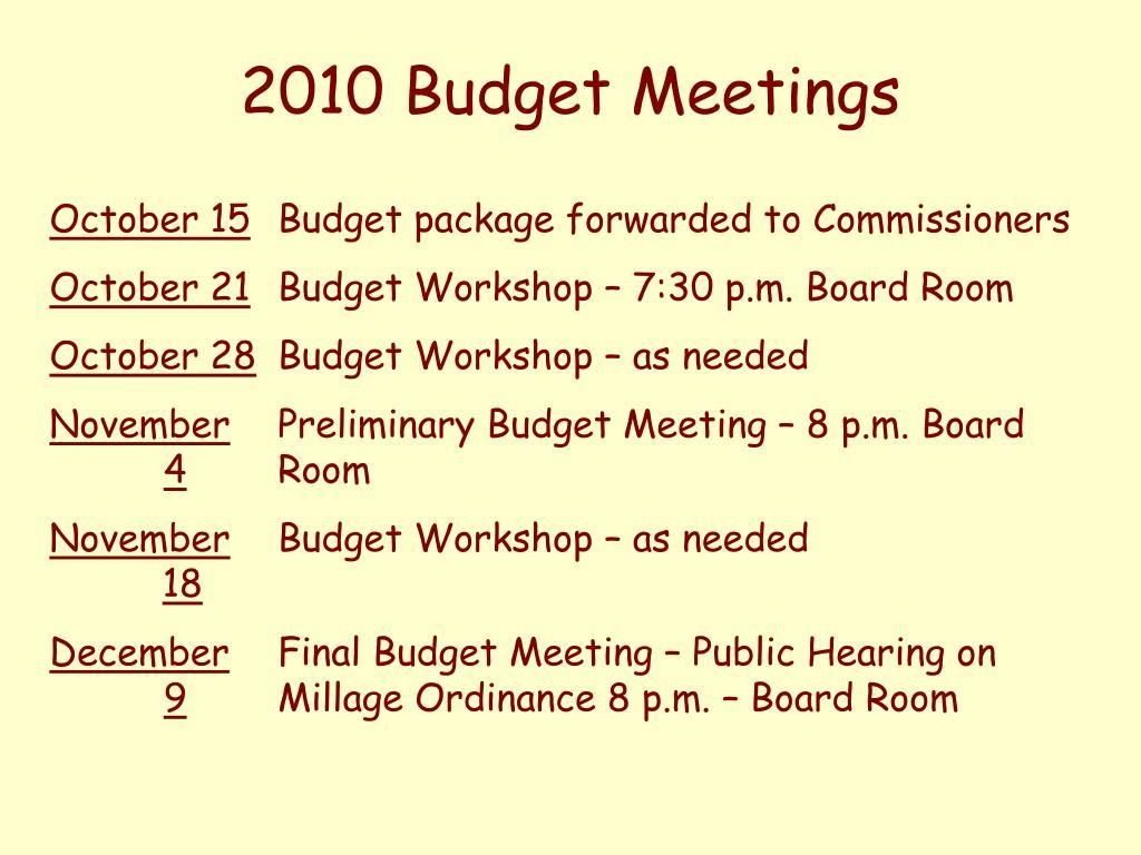 2010 Budget Meetings