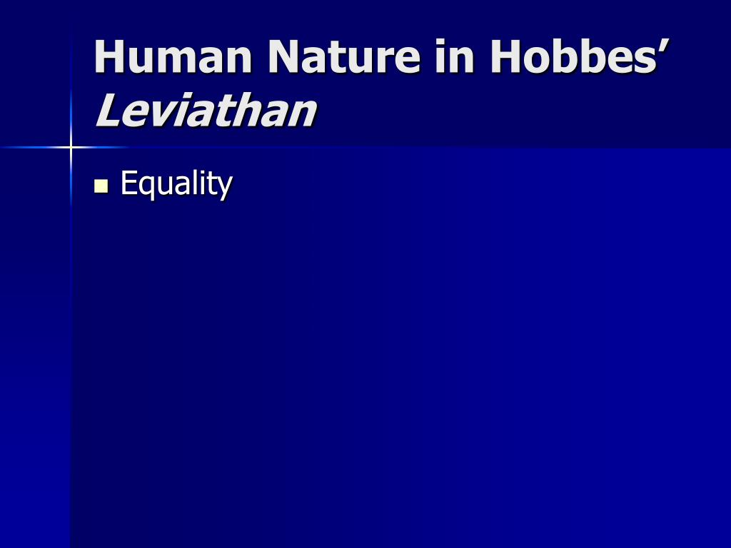 Human Nature in Hobbes'