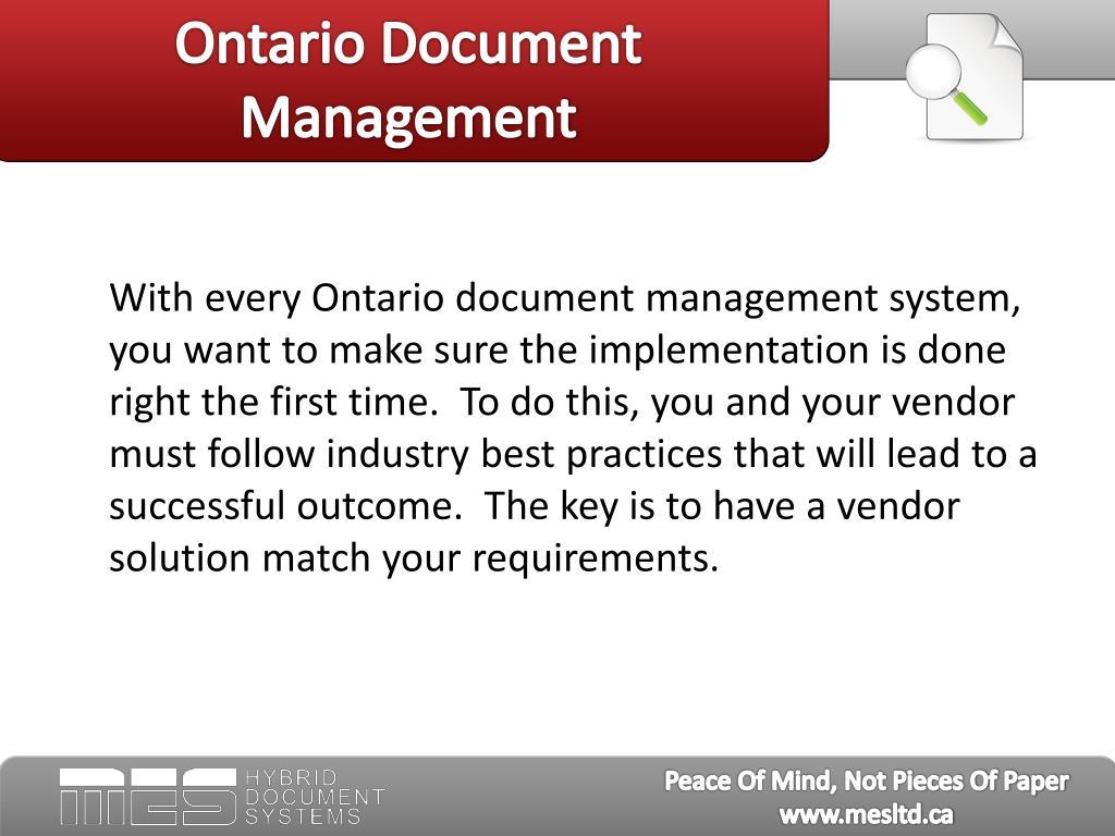 Ontario Document Management