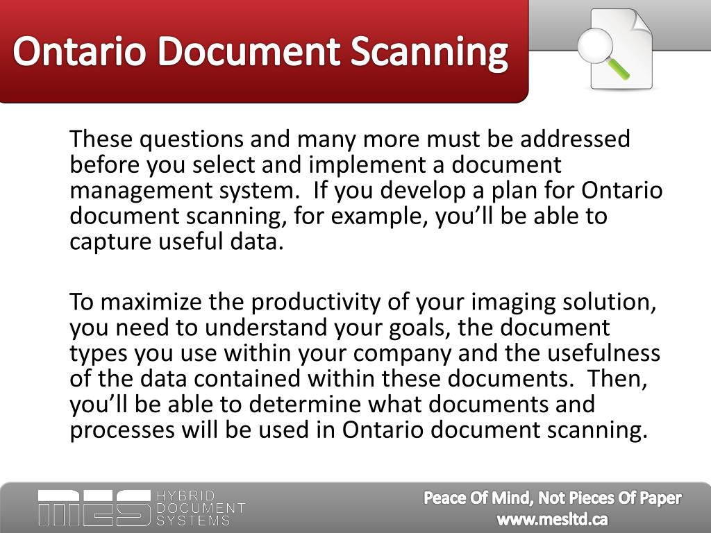 Ontario Document Scanning