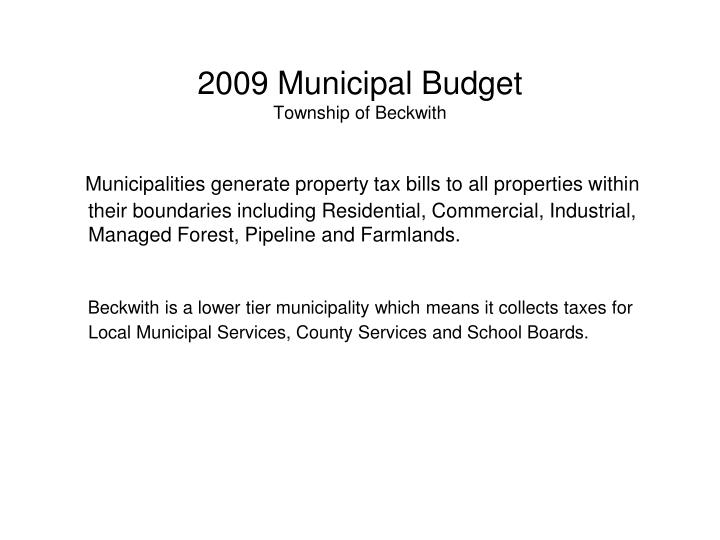 2009 municipal budget township of beckwith