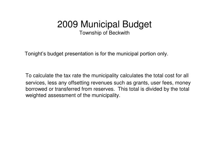 2009 municipal budget township of beckwith3