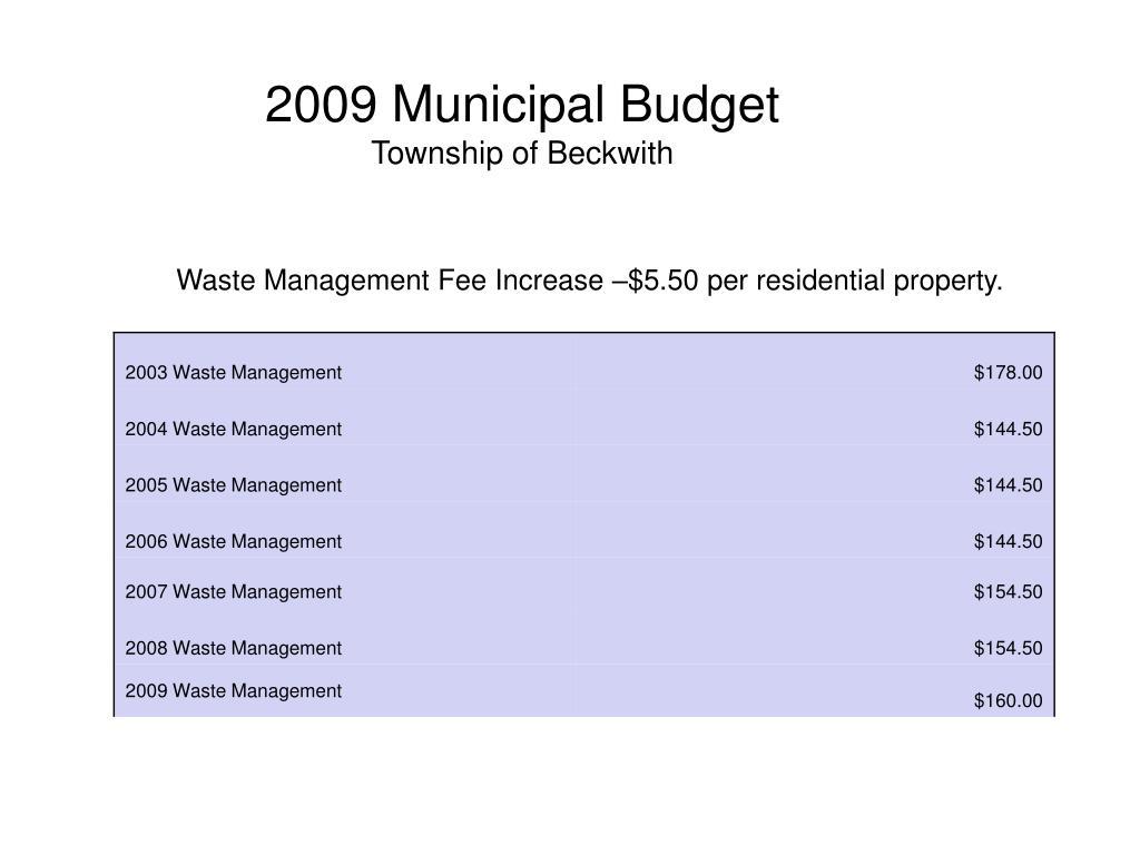 2009 Municipal Budget