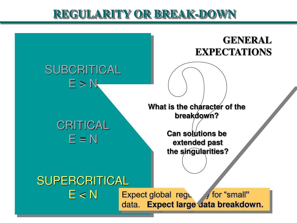 REGULARITY OR BREAK-DOWN