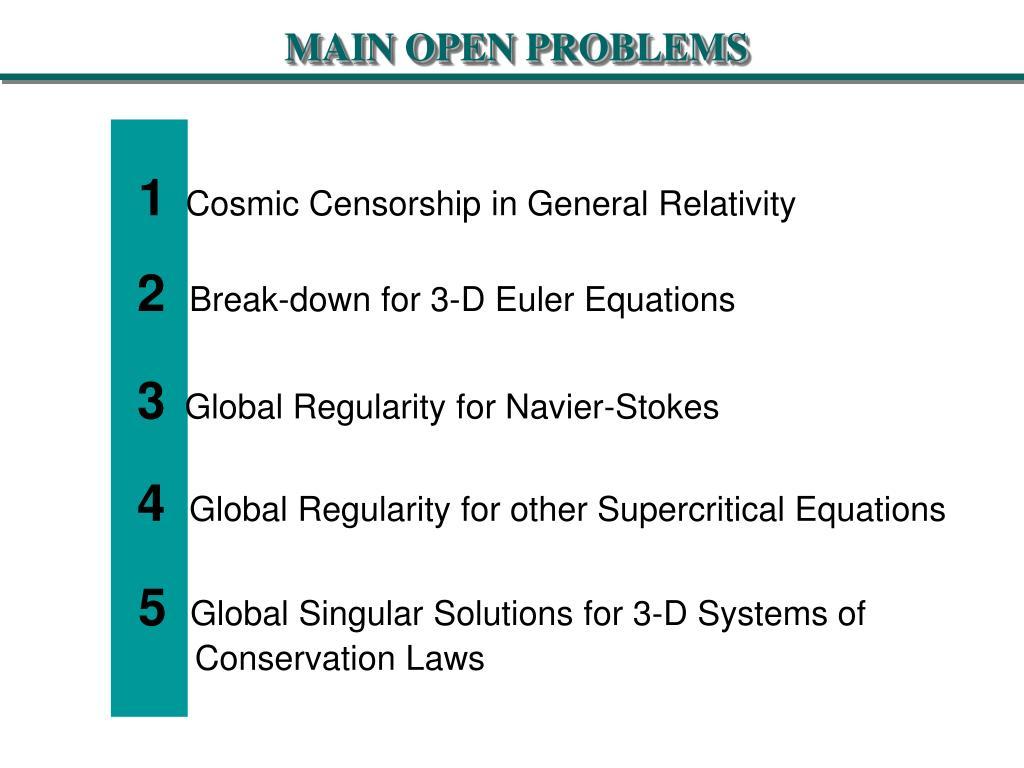 MAIN OPEN PROBLEMS