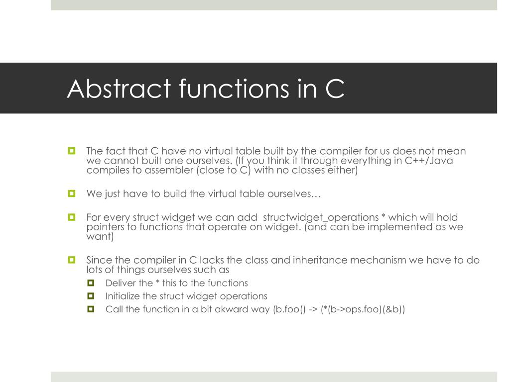 Abstract functions in C