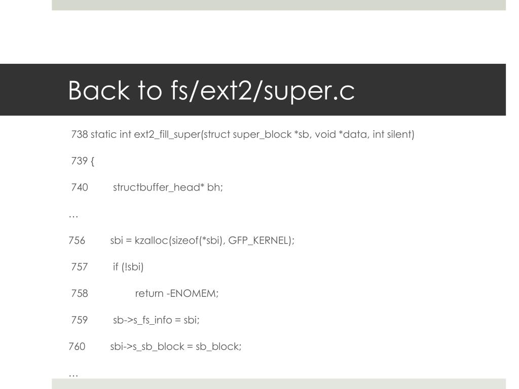 Back to fs/ext2/super.c