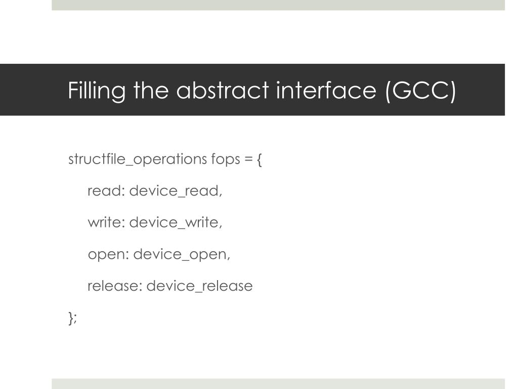 Filling the abstract interface (GCC)
