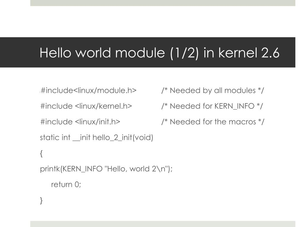 Hello world module (1/2) in kernel 2.6