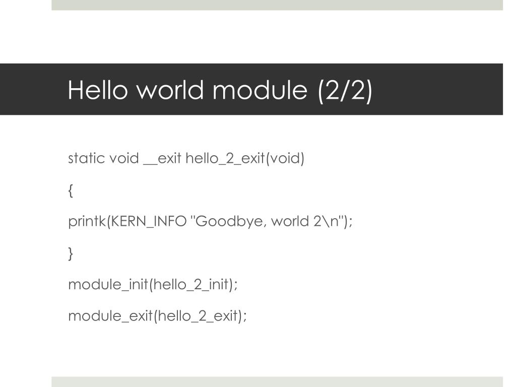 Hello world module (2/2)