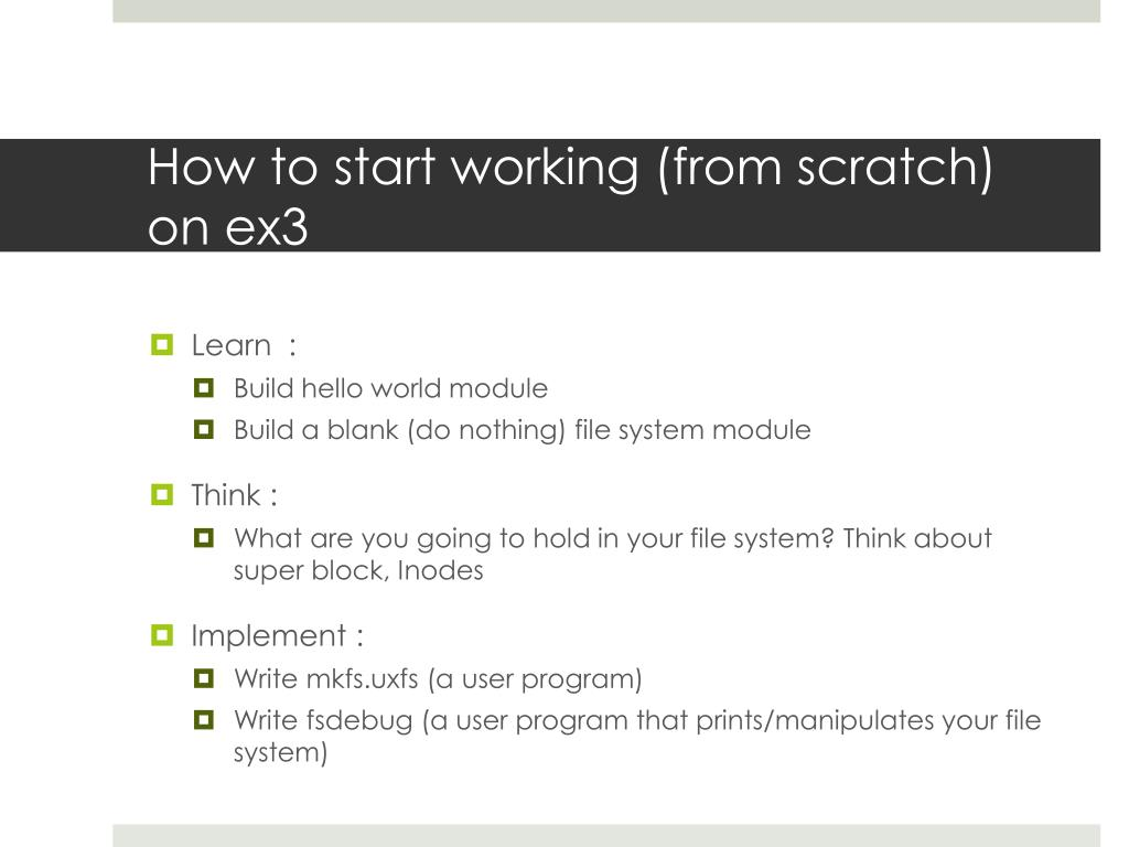 How to start working (from scratch) on ex3