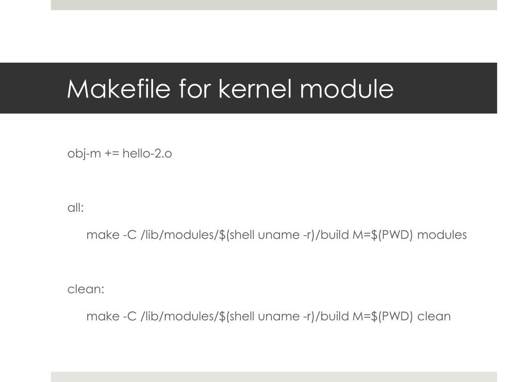 Makefile for kernel module