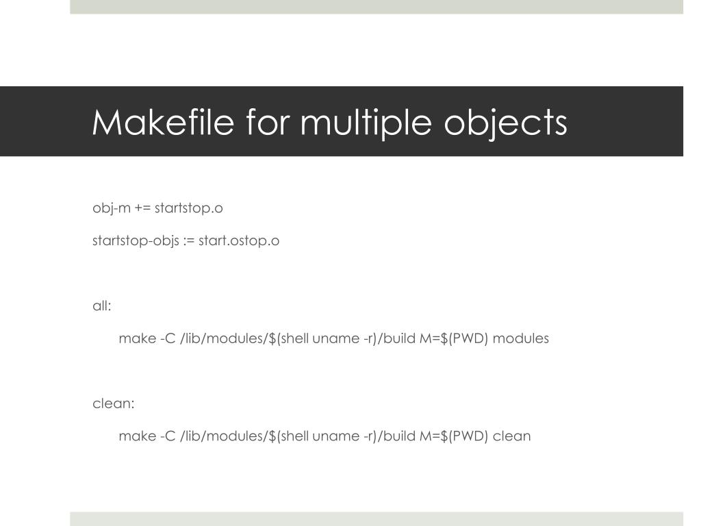 Makefile for multiple objects
