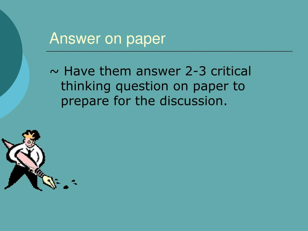 Answer on paper