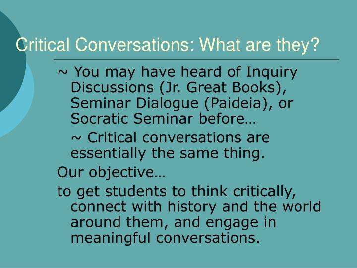 Critical conversations what are they