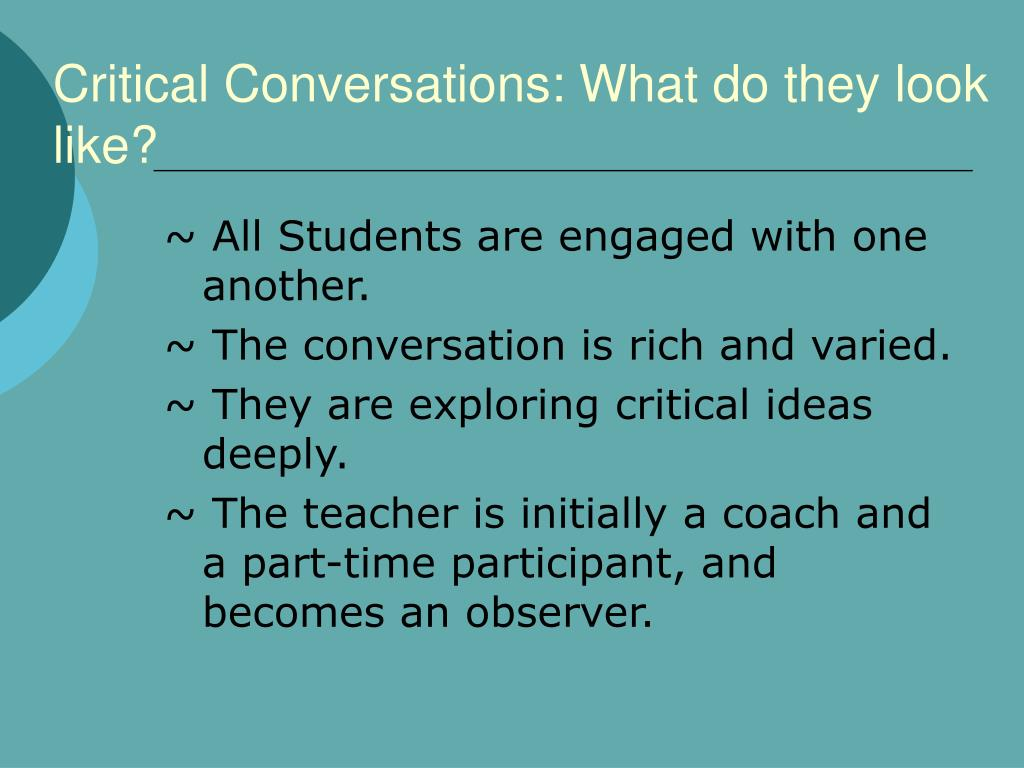 Critical Conversations: What do they look like?