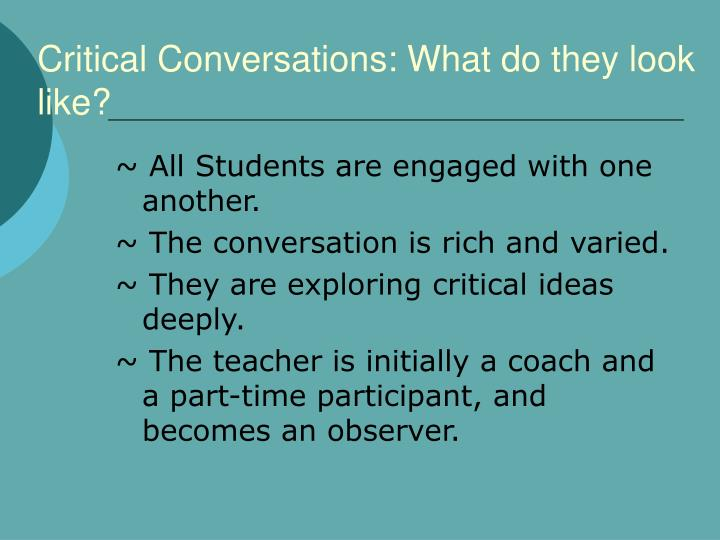 Critical conversations what do they look like