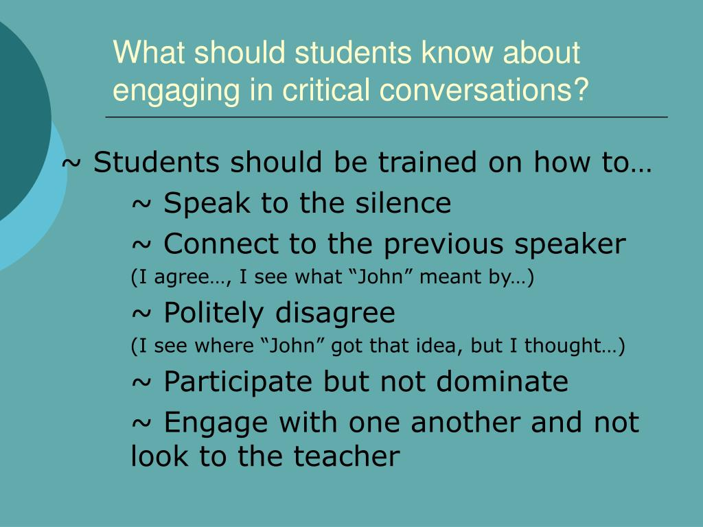 What should students know about engaging in critical conversations?