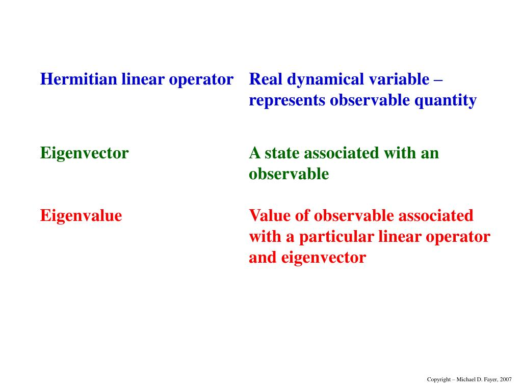 Hermitian linear operator	Real dynamical variable –