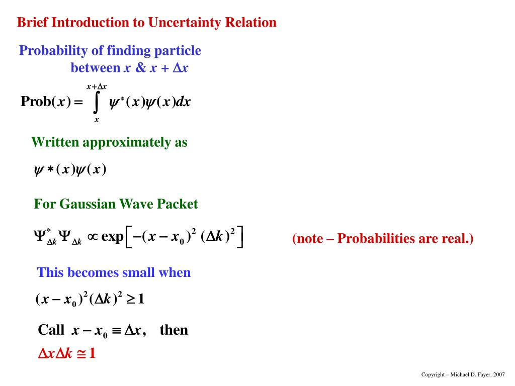 Probability of finding particle