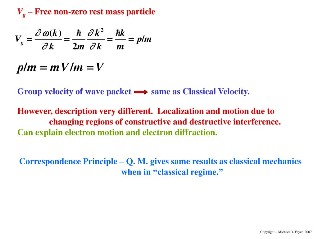 Group velocity of wave packet	   same as Classical Velocity.