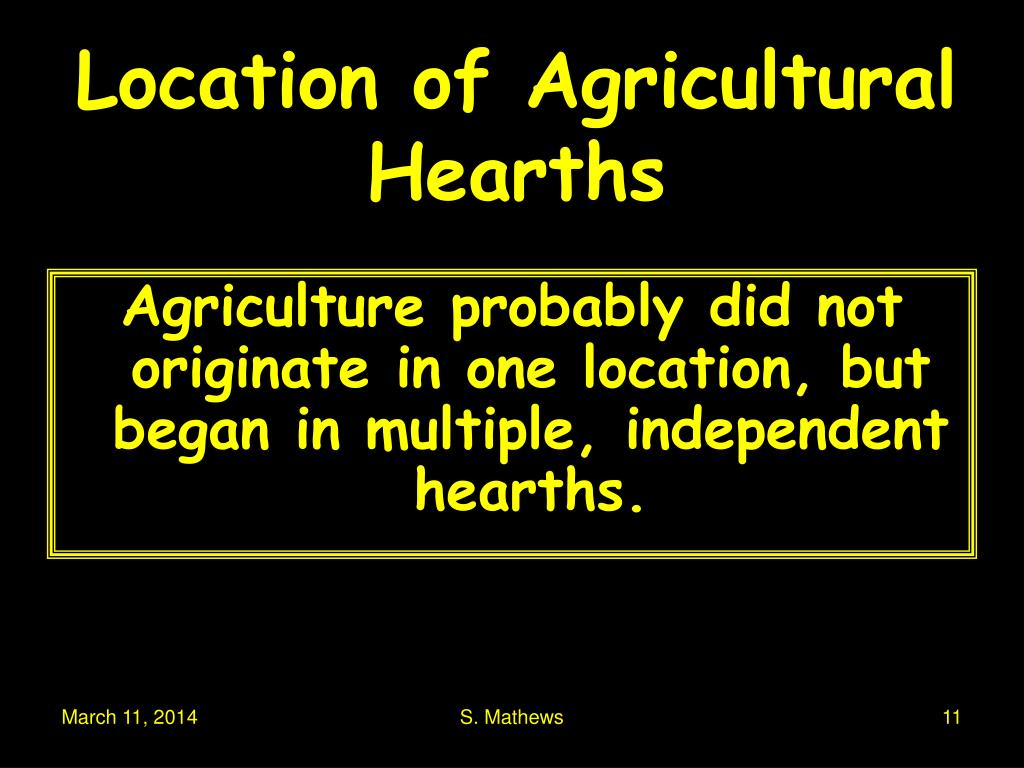 Location of Agricultural Hearths