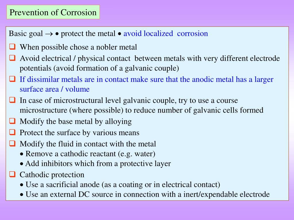 Prevention of Corrosion
