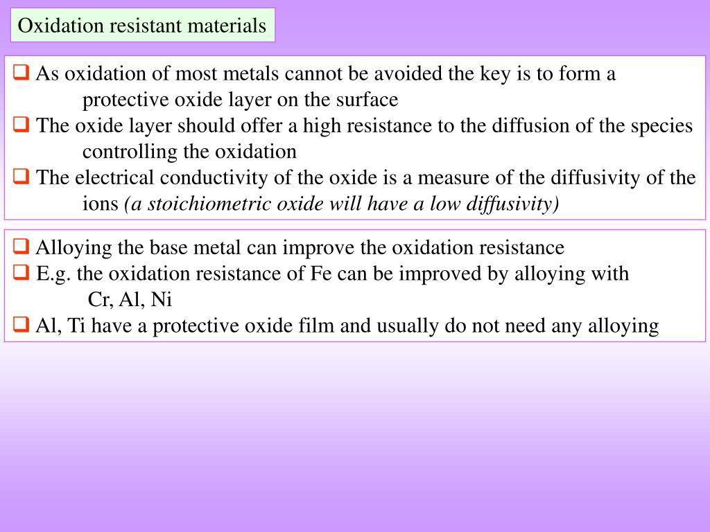 Oxidation resistant materials