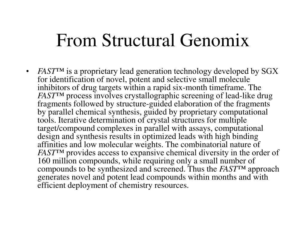 From Structural Genomix