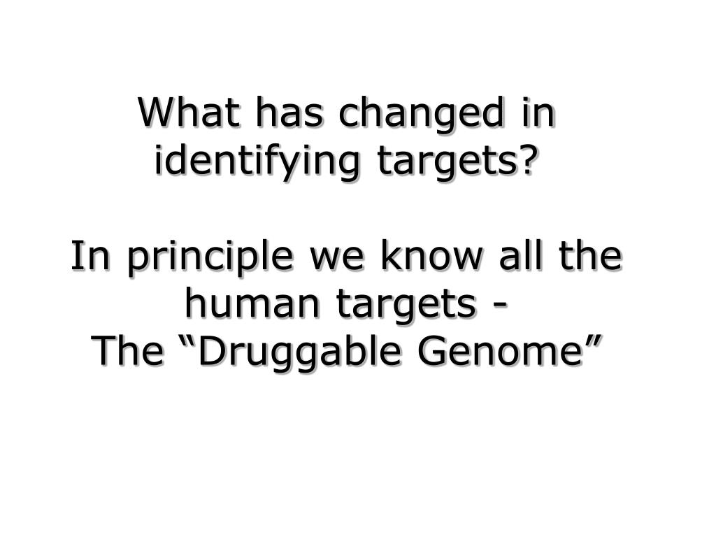What has changed in identifying targets?