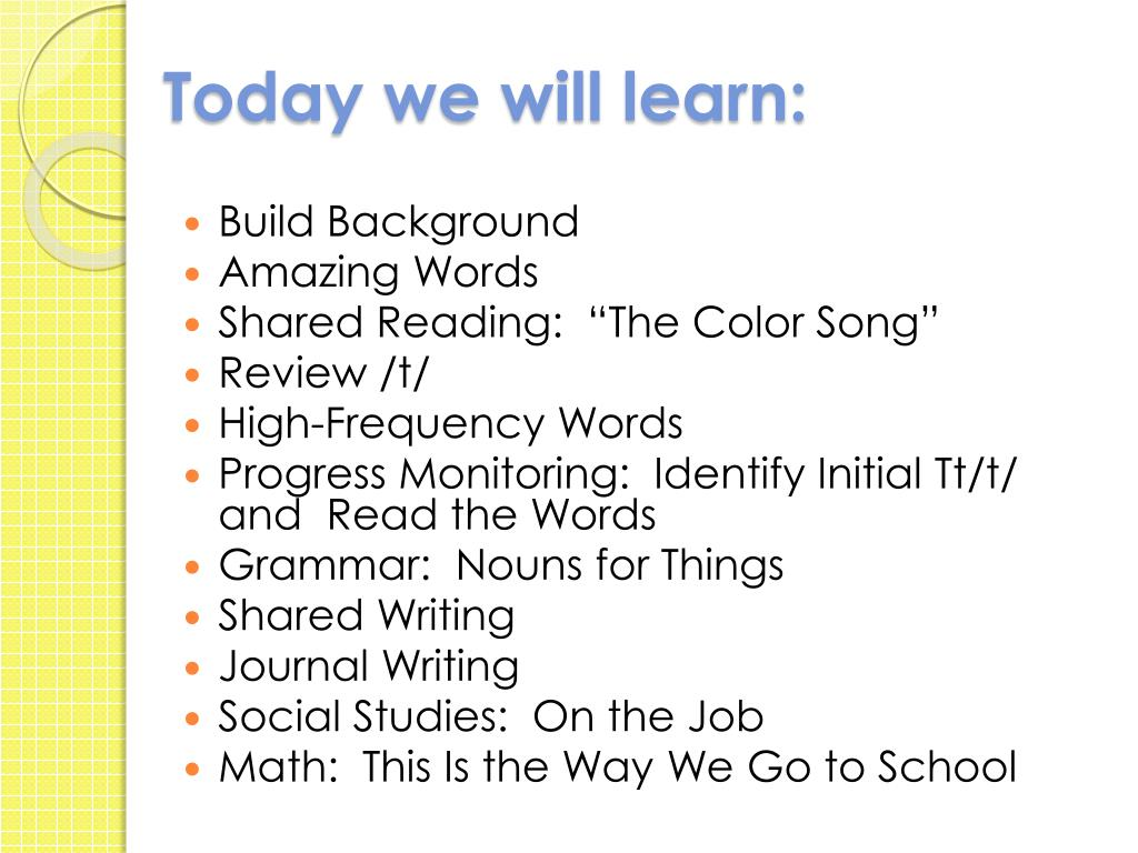 Today we will learn: