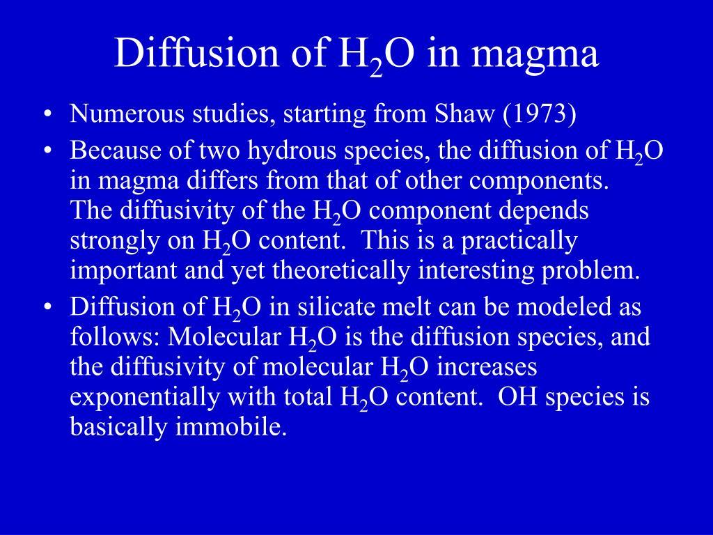 Diffusion of H