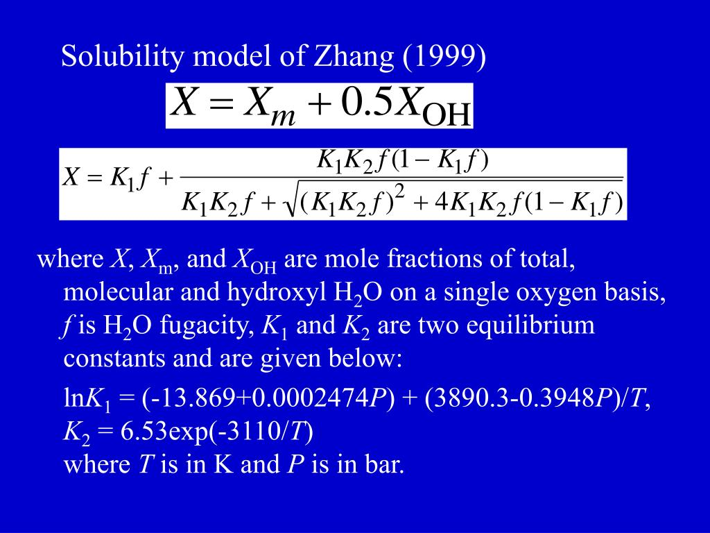 Solubility model of Zhang (1999)