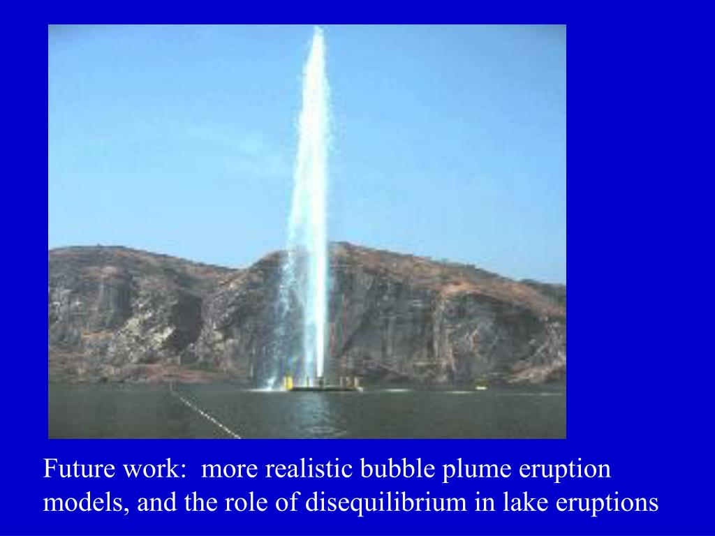 Future work:  more realistic bubble plume eruption models, and the role of disequilibrium in lake eruptions