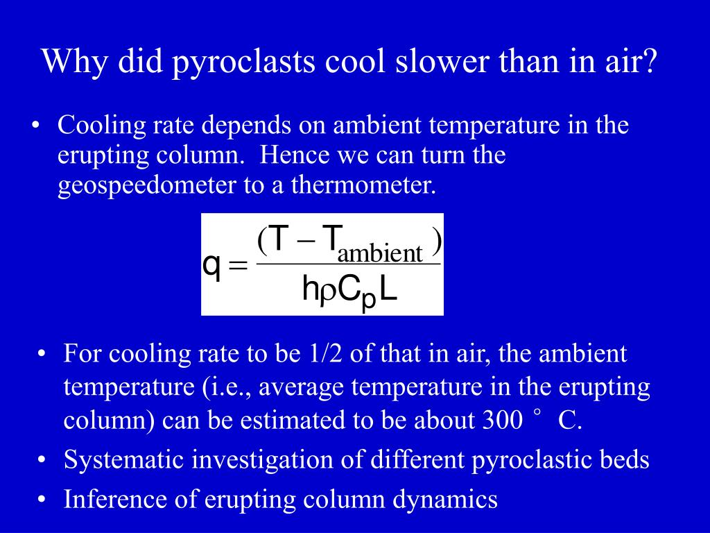Why did pyroclasts cool slower than in air?
