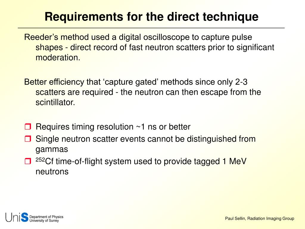 Requirements for the direct technique