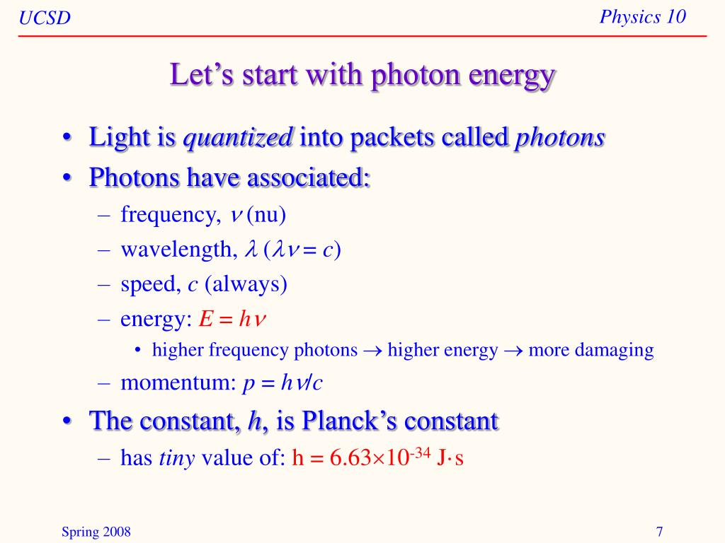 Let's start with photon energy