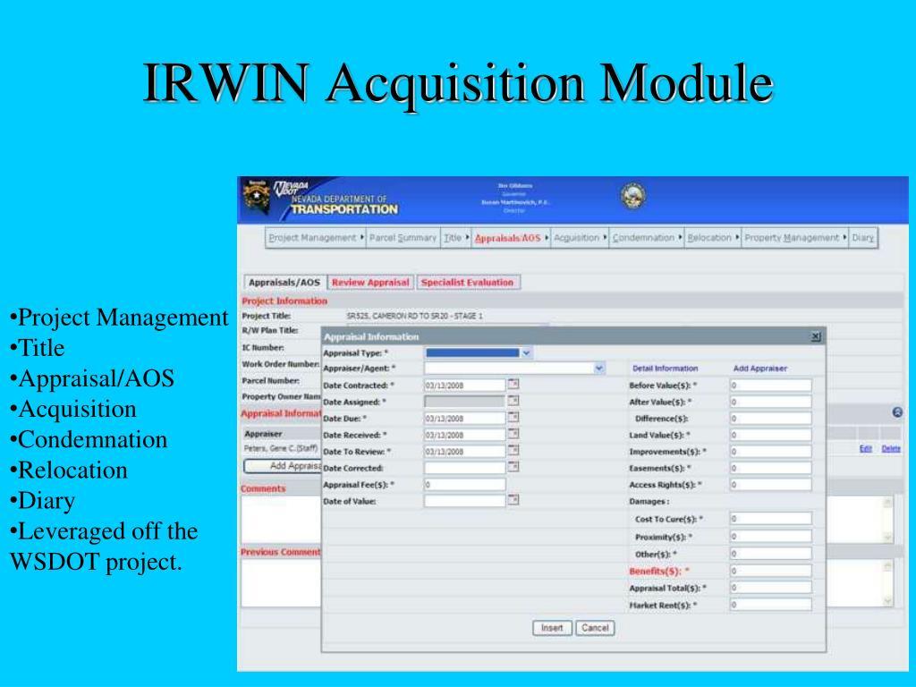 IRWIN Acquisition Module