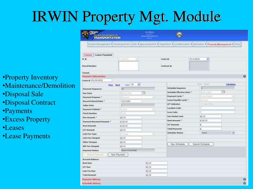 IRWIN Property Mgt. Module