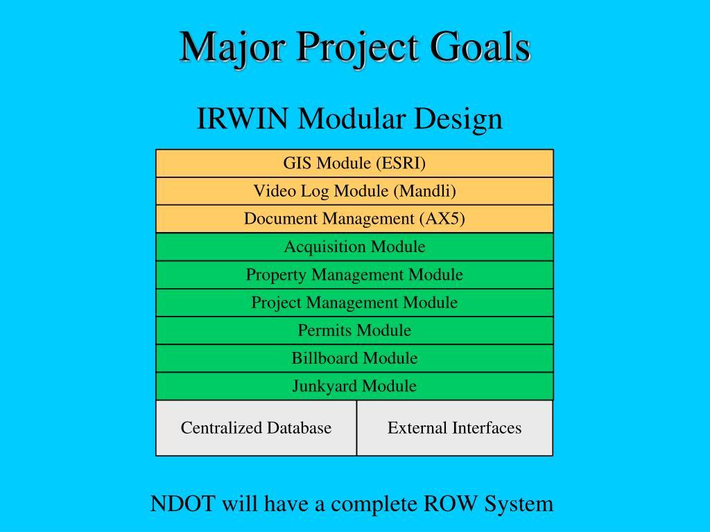 Major Project Goals