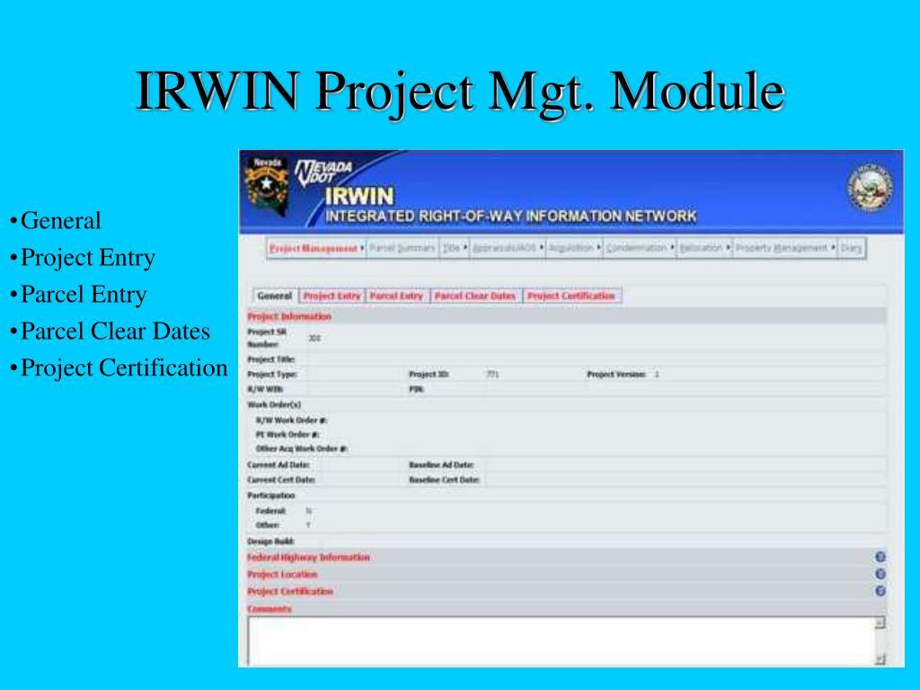 IRWIN Project Mgt. Module