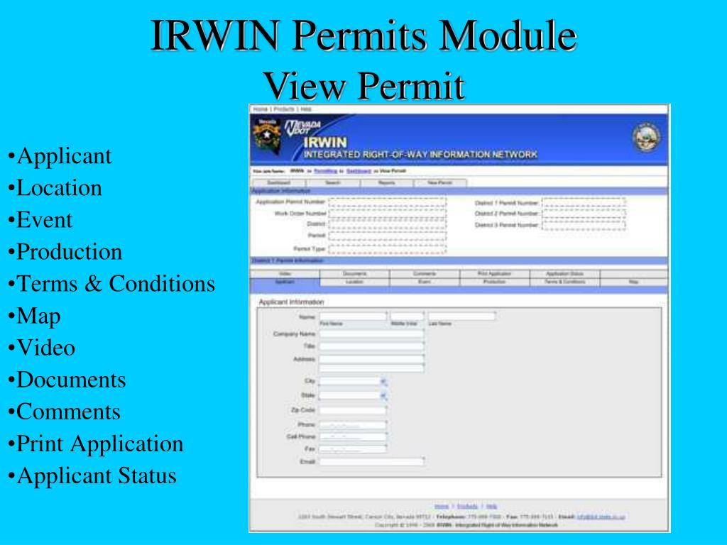 IRWIN Permits Module