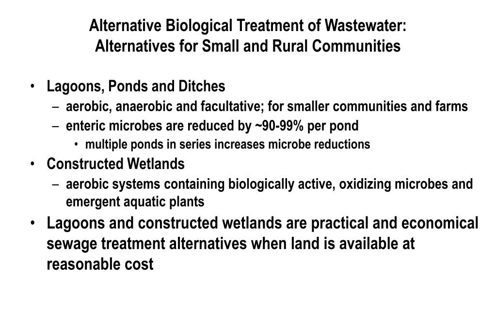Alternative Biological Treatment of Wastewater: