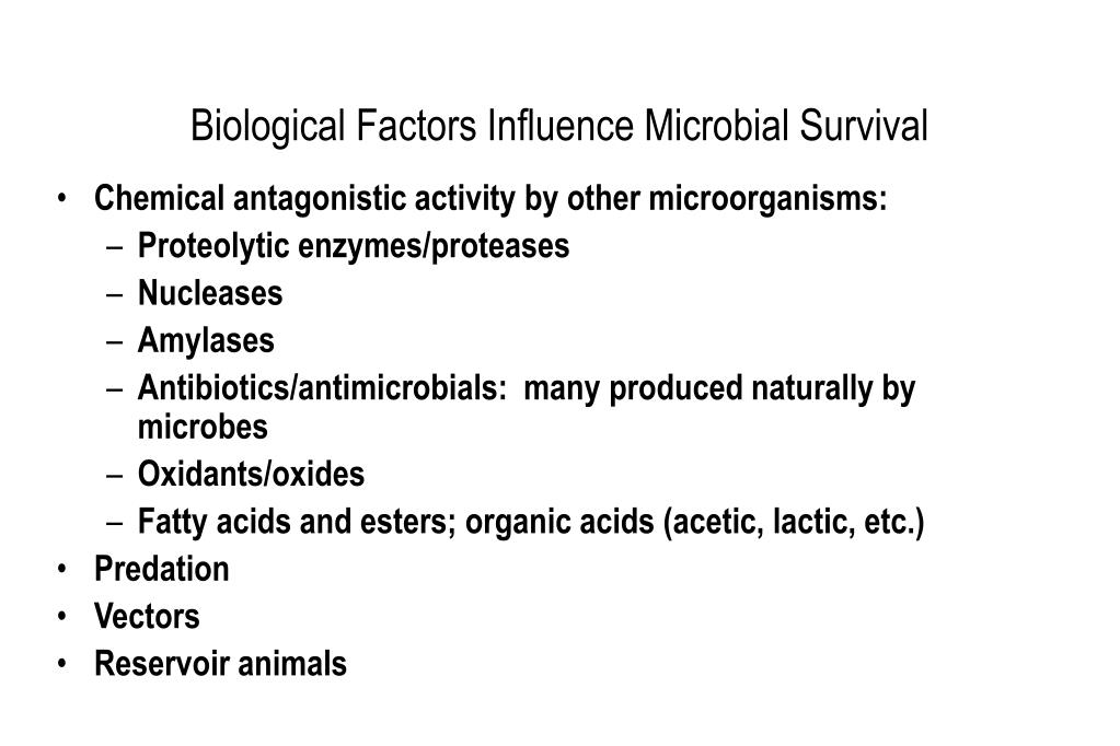 Biological Factors Influence Microbial Survival