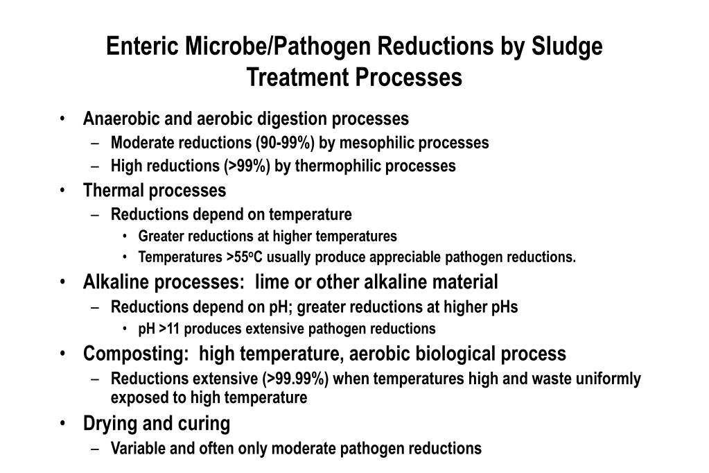 Enteric Microbe/Pathogen Reductions by Sludge Treatment Processes