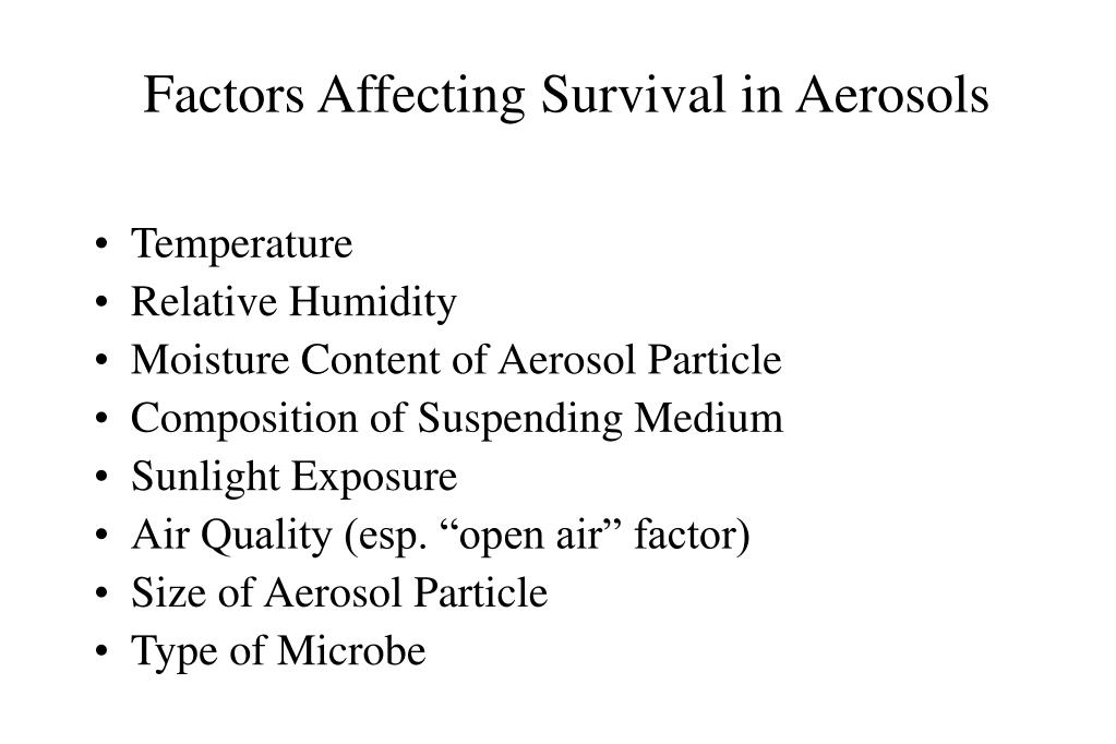 Factors Affecting Survival in Aerosols