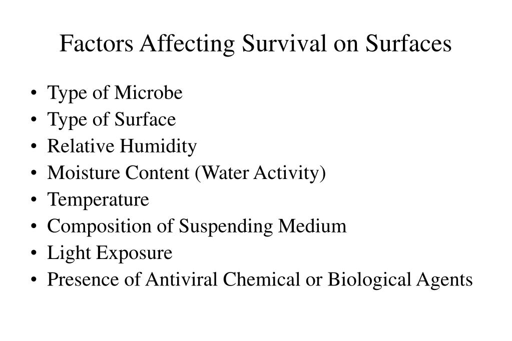 Factors Affecting Survival on Surfaces