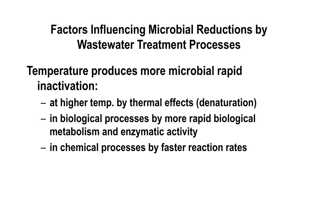 Factors Influencing Microbial Reductions by Wastewater Treatment Processes