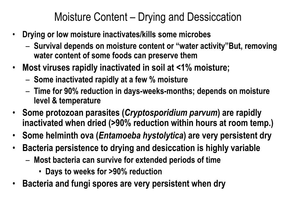 Moisture Content – Drying and Dessiccation