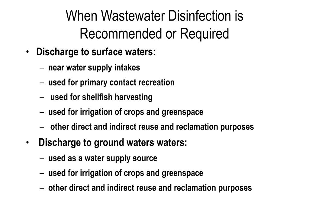 When Wastewater Disinfection is Recommended or Required